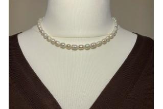 Ovalių Perlų vėrinys 6-7mm...